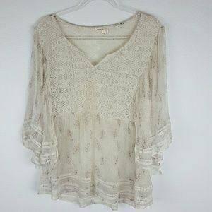 Anthropologie | Meadow Rue Silk Cream Size XL